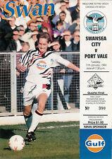 Swansea City V PORT VALE 11 Jan 1994 PROGRAMMA CALCIO TROFEO AUTOGLASS