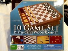 Cardinal 10 Game family play set Wood cabinet with dual sided board