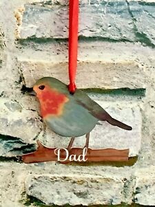 Robin Personalised Christmas Tree Hanging Decoration Memorial Loved One