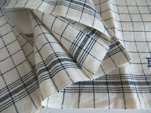 Towel  Antique Large  Linen Blue Stripes Monogra FU 23 inch by 30 inch Unused