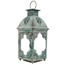 Large Primitive Rusty Blue Tin & Glass Lantern. Gorgeous Home Decor Accent. NEW