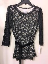 CHARTER CLUB BLACK EYELASH LACE PULLOVER TOP BLOUSE TUNIC MSRP $89.50 Sz PXL NWT