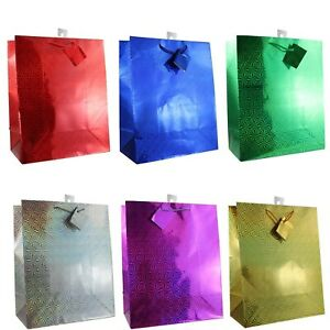"""12-Pack Hologram LARGE Gift Bags 6-Color Assortment (12.5"""" x10.5""""x5.5"""")"""