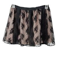 American Eagle Outfitters Skirt XS Black Lace Lined Mini Elastic Waist SK18