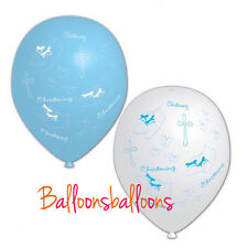 "Blue and White 11"" amscan Latex christening Balloons x 6"