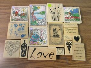 HERO ARTS, PRINTWORKS AND MORE WOOD BACKED RUBBER STAMPS! ASSORTED THEMED STAMPS