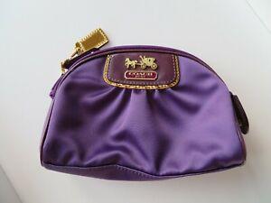Coach Signature Amanda Cosmetic Pouch Purple Satin  Make Up Bag