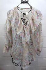 VICTORIA'S SECRET Vintage Multi-Color Floral Paisley Sheer Ruffle Blouse Nightie