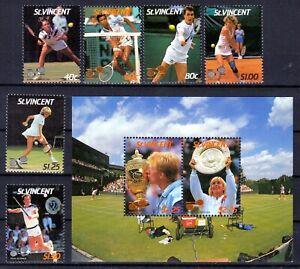 St. VINCENT 1987 / British colony ☀ Tennis player ☀ 6v + Block MNH