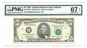 1995 $5 ATLANTA FRN, PMG SUPERB GEM UNCIRCULATED 67 EPQ BANKNOTE, F/F BLOCK, FW