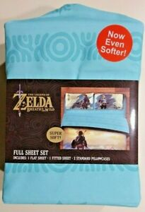 NEW Legend Of Zelda Breath Of The Wild Nintendo Soft Polyester 4Pc FULL SheetSet