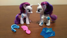 Two Brushables My Little Pony Crystal Motion Rarity and Tinsel in Hair 2012 2013