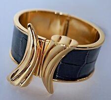 Designer Rachel Zoe ~ Shark Tooth Bracelet ~ 14K Gold Plate & Black ~ NWT