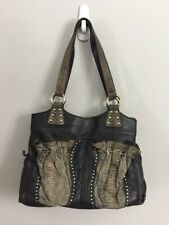 8ad523af368e Chi By Falchi Soft Lambskin Black Leather Genuine Snake Trim Handbag Purse