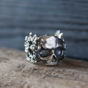 Mens Black Silver Plated Tattoo Skull Flower Ring Gothic Jewelry Biker Rings