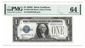 1928D $1 SILVER CERTIFICATE, PMG CHOICE UNCIRCULATED 64 BANKNOTE, D/B Block