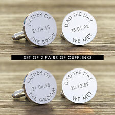 x2 Personalised Silver Finish Father of the Bride Father of Groom Cufflinks Gift
