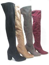 Steve Madden Rational Over the Knee High Heel Boots Tan/ Burgundy / Black / Gray