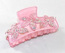 Brand New Sweet Baby Pink Tropical Flowers Hair Clip Claw w/Clear AB Crystals
