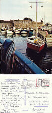 1986 BOATS BY THE WALLED CITY CONCARNEAU BRITTANY FRANCE COLOUR POSTCARD