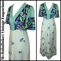 Size 8 10 VTG Maxi Tea Dress 70s Green Polka Dot Floral Angel Sleeve Cottagecore
