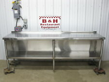 "96"" x 24"" Stainless Steel Heavy Duty Kitchen Cabinet Work Prep Table 8' x 2'"