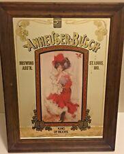 Vintage Anheuser-Busch Budweiser Girl Victorian Lady In Dress Bar Mirror 26x20