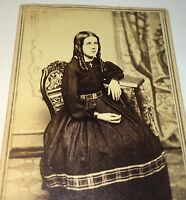 Antique Victorian American Civil War Era Fashion Beautiful Girl, Cross CDV Photo