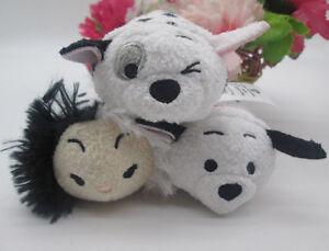 "Disney Store 101 Dalmatians Lucky/CRUELLA Tsum Tsum Mini 3 ½"" Plush Doll 3pcs"