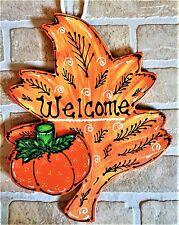 Welcome Fall Leaf Sign Pumpkin Wall Door Hanger Autumn Plaque Thanksgiving Home