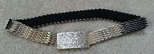 "Vintage Silver Toned Metal Snake Scale Stretch Belt Rectangular Buckle 26 1/2"""