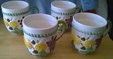 4 Portugal Ceramics Inc Fruited Mugs Made in Portugal