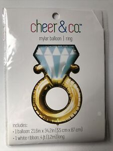 NEW Cheer & Co Mylar Foil Balloon 34 inch DIAMOND ENGAGEMENT RING Party Decor