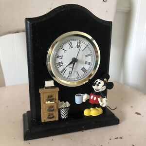 Disney Mickey Mouse Quartz Desk Clock Micky At The Office Coffee File Cabinet