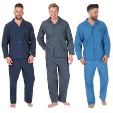Mens Plus Size Woven Pyjama Set Shirt Trousers Nightwear Big Tall Plain Classic