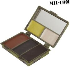 MIL-COM 5 COLOUR FACE PAINT CREAM & MIRROR BLACK BROWN GREEN MILITARY CAMO