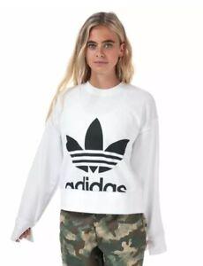 Women's adidas Originals Sweater Crew Neck Regular Fit Sweatshirt White EC5777