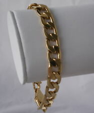 14k  Gold Plated 12.5 MM Curb Chain Bracelet 9.25 inch Lifetime Guarantee