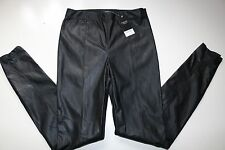 NEXT- BLACK FAUX LEATHER LEGGINGS SLIM SKINNY TROUSERS UK10 EUR38 LONG TALL NEW