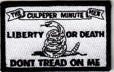"""""""LIBERTY OR DEATH""""-THE CULPEPPER MINUTE MEN-""""DON'T TREAD ON ME""""-Iron On Patch"""