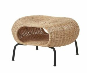 IKEA GAMLEHULT Ottoman with storage, rattan / anthracite Footstool Hand-woven