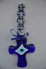 ANATOLIAN TURKISH / GREEK EVIL EYE, CROSS, GLASS WALL HANGING with SMALL  BEAD