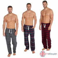 Mens 100% Cotton Breathable Checked Striped Flannel Pants Pyjama Bottoms S-XXL
