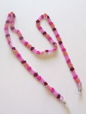 Spirit of Nature Eye Glass Holder Chain- Beads Flower- pink coral red purple