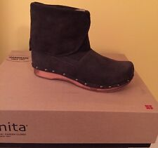 SANITA DANISH LEATHER ANKLE CLOG BOOTS WOOD PLATFORM SIZE 37 NEW ANTRACITE