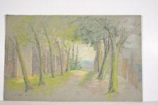 Dessin Original Pastel Marguerite DUBOIS ns XX° Paysage, Allée d'Arbres à Dol