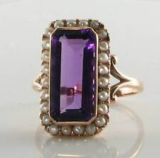 LONG 9CT 9K ROSE GOLD AFRICAN AMETHYST & PEARL ART DECO INS RING FREE RESIZE