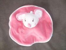 Doudou SUCRE D ORGE souris rose blanche ronde plat rond
