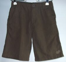 Fox Racing Shorts Mens 29 Brown Poly Viscose Blend Striped Embroidered Logo