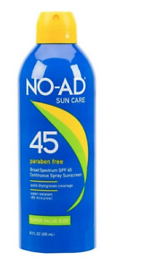 5 X No-Ad Continuous Spray Sunscreen Broad Spectrum SPF 45 10 fl oz Exp 01/2022